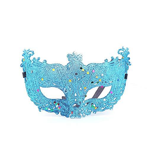 Comfot Damen Sexy Fox Ausgehöhlte Maske Für Halloween Maskerade Ball Frau Kostüm Ball Fancy-Kleid,Blue
