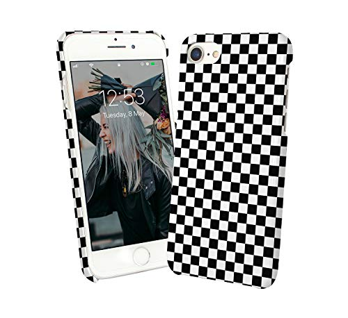 Chess Game Black White Pattern_012378 Protective Phone Mobile Smartphone Case Cover Hard Plastic for Compatible with iPhone 7 iPhone 7s Funny Gift Christmas Pattern Hard Case Cover