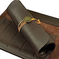 HANSHI 5 bolsillos bolsa de piel cincel cuchillo de chef/cuchillo de chef de rollo herramienta rollo bolsa para herramientas con correa de piel (hgj11)
