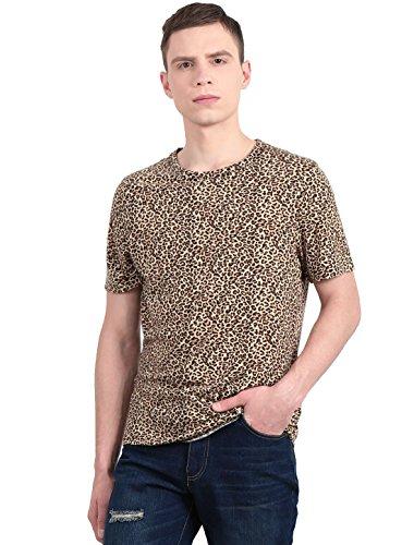 Allegra K Herren Kurzärmelig Rundhals Leopard Druck T-shirt, Beige, Schwarz, Medium / EU 48 (Medium Leopard)
