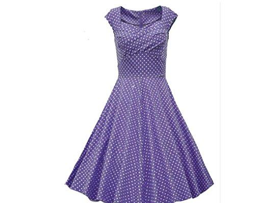 YCMDM Femmes Eté Chaude Vendant Carré Collier Mode Robe Waist Robe Rétro Wave Point Robe Purple