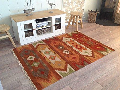 Beautiful India Varanasi geométrico 120cm x 180cm, lana Kilim alfombra (terracota marrón naranja