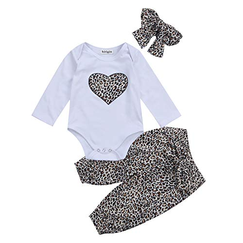 Carolilly Neugeborenes Baby Mädchen Langarm Body Romper Overalls +Leoparden Hosen Outfits Set 3Pcs Kleidung Set (0-6 Monate, Leopard Print) Baby Leopard Print