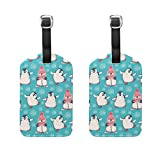 COOSUN Cute Christmas Penguins Pattern Luggage Tags Travel Labels Tag Name Card Holder for Baggage Suitcase Bag Backpacks, 2 PCS