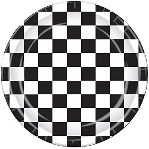 Set di 12 confezioni di 8 piatti, motivo bandiere a scacchi, colore: bianco/nero, 23 (Bandiera A Scacchi Set)