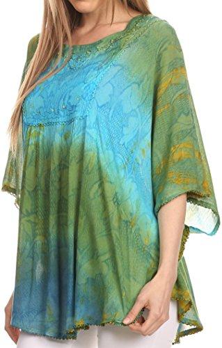 Sakkas Ellesa Chemisier Haut Poncho Ombre Tie Dye en forme de Cercle avec Broderie Pailletée Vert/Turq