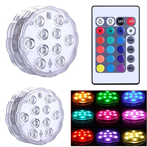 Preisvergleich Produktbild EMOTREE 2x RGB LED Unterwasser Licht mit Fernbedienung Vase Aquarium Poolbeleuchtung Wasserdicht Deko Lampe