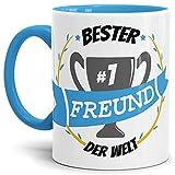Tassendruck Kaffee-Tasse Freund Innen & Henkel Hellblau/Lustig / Fun/Mug / Cup/Geschenk Qualität - 25 Jahre Erfahrung
