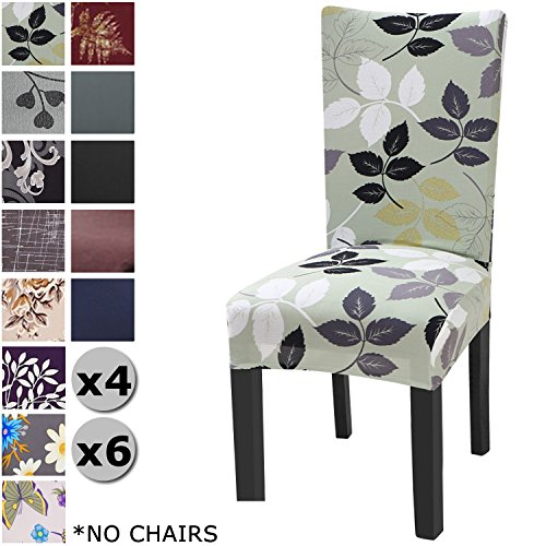 YISUN Modern Stretch Dining Chair Covers Removable Washable Spandex Slipcovers for High Chairs 4/6 PCs Chair Protective Covers (Green/Leaf Pattern, 6 PCS)
