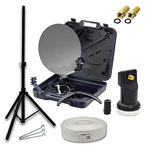 PremiumX HD Camping SAT Koffer Schüssel mit Digital Single LNB 0,1 dB inkl. Wetterschutz Gummitülle + 10m Koax-TV-Kabel mit F-Stecker + Dreiben Stativ Stahl Ø 32mm Schwarz inkl. 3x Stahl-Heringe mobile Anlage für 1