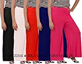 #4: ROOLIUMS ® (Brand Factory Outlet) Women's Light Weight Palazzo Pack of 5 (Black,White,Red,N-Blue,Pink) - Free Size
