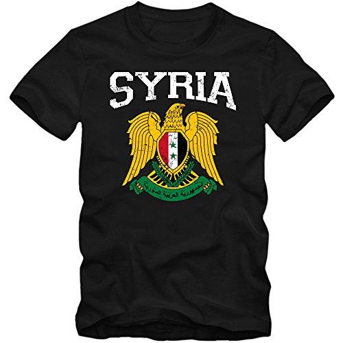 Syrien Wappen T-Shirt   Suriyya   Republik Syrien   Damaskus   Herrenshirt © Shirt Happenz Schwarz (Deep Black L190)