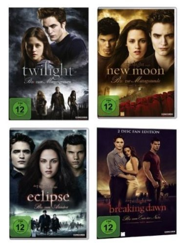 Twilight 1-4 Teile 1+2+3+4.1 - 4DVDs Kristen Stewart, Robert Pattinson, Box, 1,2,3,4, Biss zum Morgengrauen, Abendrot, Mittagsstunde, ende der Nacht Eclipse, Collection (Filme Dvd Twilight)