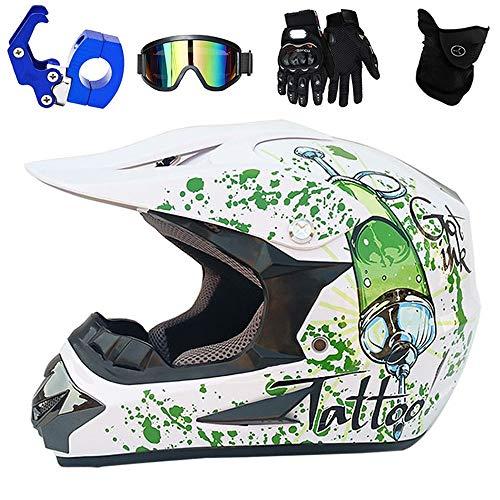 YASE Motocross Helm Herren Weiß Grün Full Face Motorrad All Terrain Enduro Crosshelm Zubehör mit Brille Maske Handschuhe Helmhaken für Downhill Moto-Cross ATV MTB Quad-Bike Mountainbike,L (Grün Full Face Maske)