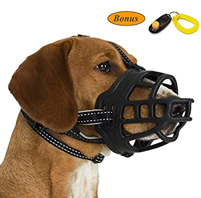 Dog Muzzle, Silicone Adjustable Basket Muzzle for Dog Anti-chewing and Anti-Barking Allows Drinking and Panting by JeonbiuPet from JeonbiuPet