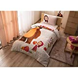Original Lizenziert Bettwäsche-Set, Masha und Bär Design, Single Größe, 100% Baumwolle, 3-Teilig (Bettbezug + Spannbettlaken + Kissenbezug)