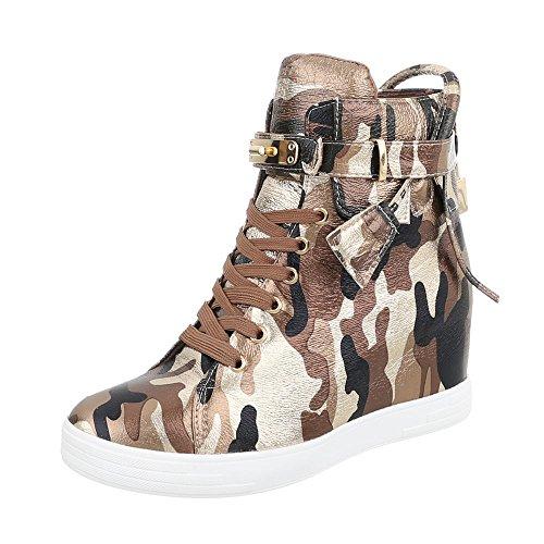 Sneakers Ital-design Alte Scarpe Da Donna Sneakers Alte Zeppa / Zeppa Con Zeppa Lacci Scarpe Casual Marrone Multi M258