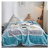 Decke Double-Layer-Dicke, Tight und dick, sichere Drucken und Färben, kein Verblassen, kein Fussel, gesunde und Umweltschutz Little (Color : Blue, Size : 180 * 220cm)