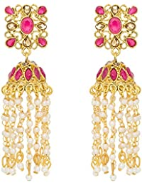 The Luxor Gold Plated Pearl Stylish Party Wear Dangler Earrings For Girls And Women-ER-1814