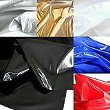 TOLKO® Lackleder mit Latex-Glanz für Kleid Rock Dessous weiche elastische Meterware in Schwarz