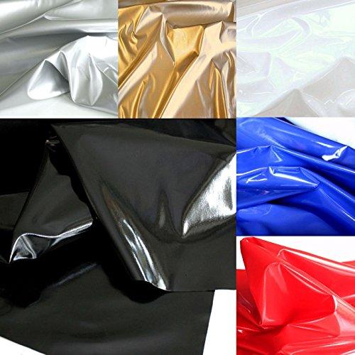 TOLKO Wetlook Lackleder mit Latex-Glanz für Kleid Rock Hose Dessous | zum Nähen Basteln Dekorieren | weich elastische Meterware | 140cm breit (Schwarz)