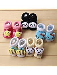 Clastik Cartoon Face Socks for Baby Girl and Boy (0-9) Months,Multicolor) Pack of 3 Pairs