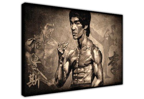 """Canvas it up Iconic Druck auf Leinwand, Motiv Bruce Lee Legende des Kampfsports, New Age Art, tolle Deko, groß, Schwarz / Weiß 1- A3 - 12"""" X 16"""" (30CM X 40CM)"""