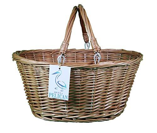 Panier en osier naturel avec anses Pour les courses et le jardinage 100% en osier