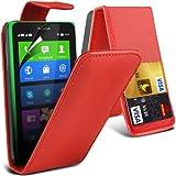 (Red) Nokia X Custom Designed Stilvolle Accessoires zur Auswahl Schutzmaßnahmen Kunst Credit / Debit-Karten-Leder Flip Case Hülle & LCD-Display Schutzfolie von Hülle Spyrox