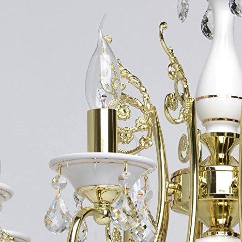 Goldfarbig und weiß Kronleuchter  Kristall 8 flammig Wohnzimmer mit Kerzen - 4