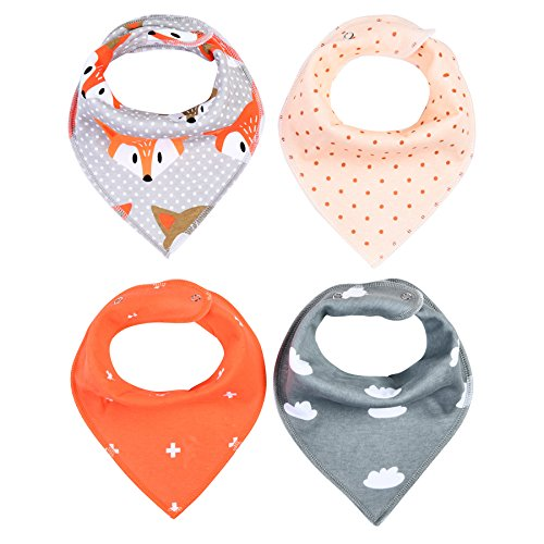 4er-Baby-Dreieckstuch-Ltzchen-Baumwolle-Bandana-Dreieckstuch-Spucktuch-mit-Justierbarem-Snaps-0-36-Monaten