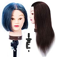 HAIREALM Training Head Hairdressing 100% Real Human Hair Styling Mannequin Manikin Doll (Table Clamp Holder Included) EHJ0414P