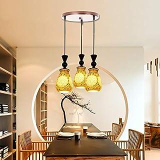 ZAOFAN Chandelier classical ceramic hollow 3 head ceiling lamp for bar restaurant bedroom living room hotel pendant light(E27*3),A