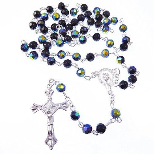 R. Heaven - Schillernd Langer Schwarzer Glas Rosenkranz Perlen Silber Metall Kruzifix Facettierte Perlen