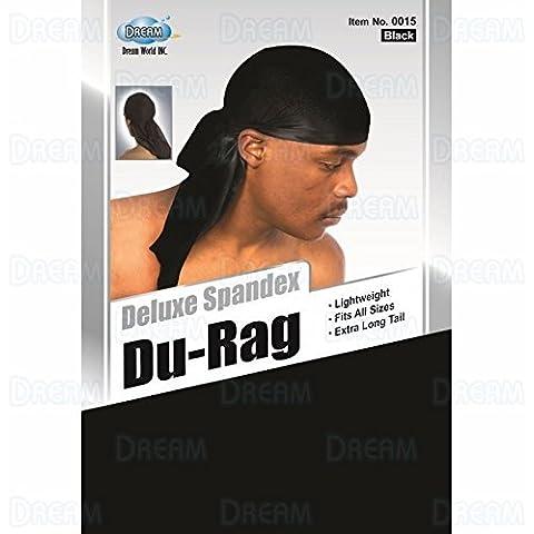 Dream Deluxe Spandex Du-Rag - Black, Lightweight, long tail, extra long, turban, cap, bandana by Dream