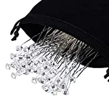40 Pack White Crystal Rhinestone Hair Pins Wedding Hair Clips with Storage Bag