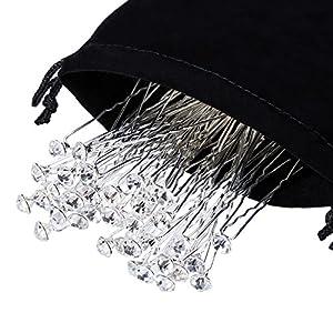 40 Stück Weiß Kristall Strass Haarnadel Hochzeit Haarklammer mit Aufbewahrungsbeutel