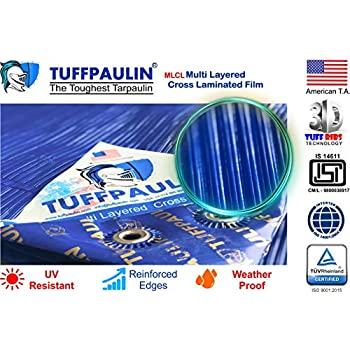 TUFFPAULIN (6x6 ft, Blue) Tarpaulin Sheet Waterproof |UV Treated|Multi Layered-Cross Laminated|Virgin Plastic Extra Strong Tirpal Tarpal IS14611:2016 Approved (120 GSM)
