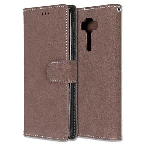 Chreey Asus Zenfone 3 Deluxe 5.5 ZS550KL Hülle, Matt Leder Tasche Retro Handyhülle Magnet Flip Case mit Kartenfach Geldbörse Schutzhülle Etui [Braun]