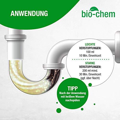 bio-chem® HAAR-WEG Abfluss-Frei | 1000 ml | Abflussreiniger | Rohrreiniger | Rohrreinigung | Rohrfrei | Abflussrohr | Geruchskiller | Entfernt und löst hartnäckigste, organische Verstopfungen - 4