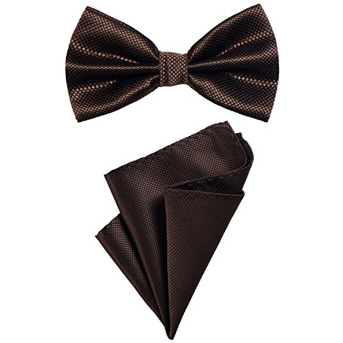 DonDon 2er Set Herren Fliege und Einstecktuch farblich passend gebunden und größenverstellbar dunkelbraun