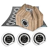48 kleine Mini-Geschenkkarton Faltschachtel braun natur 9 x 12 x 6 cm ohne Griff + 48 runde...