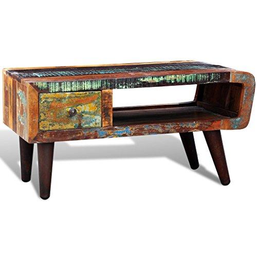 vidaXL Reclaimed Home Furniture Vintage Wood Tea Table Coffee Table One Curved Edge