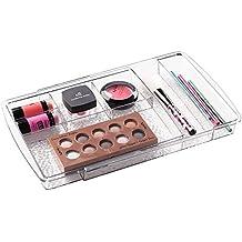 mDesign Organizzatore Espandibile Cassetto dei Cosmetici da Armadietto per Tenere Trucco, Prodotti di Bellezza - Trasparente