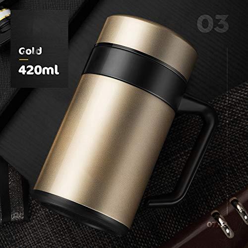Bottiglia thermos sport outdoor tazza da caffè coibentata con manico e coperchio - boccetta da vuoto in acciaio inox da 420 ml / 15 oz con filtro per tè rimovibile - tazza da viaggio termica a tenuta