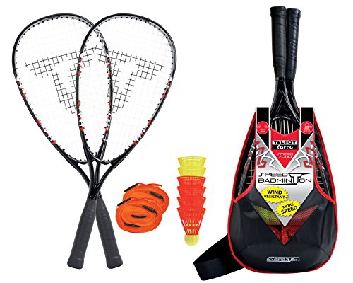 Talbot-Torro Speed-Badminton Premium-Set Speed 7000, hochwertiges Komplettset, 2 kraftvolle Graphit-Composite Rackets 58,5cm, 6 windstabile Federbälle, komplettes Court-Liniensystem zur Spielfeldmarkierung, im trendigen Rucksack, 490107