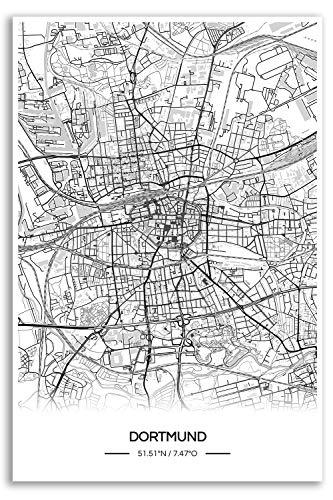 Zulumaps Poster 60x90cm Stadtplan Dortmund - Hochwertiger Kunstdruck