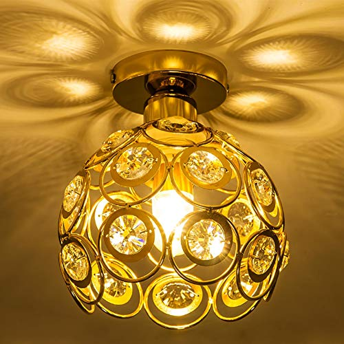 Crystal Ceiling Light Shades, Modern E27 Industrial Metal Flush Mount Ball Pendant Lights Chandelier Fixture for Kitchen Island Home Dining Room Bedroom Coffee (Gold) - Crystal Ceiling Mount