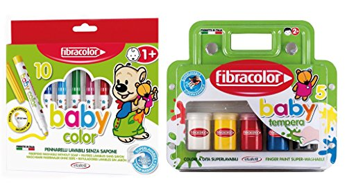 Fibracolor Baby Farbe Faser Färbung Stifte (Packung mit 10) Plus Baby Farbe Tempera Finger Farbe (Packung mit 5) Super Waschbar -