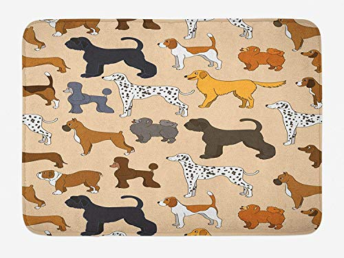 Home doormats Dog Bath Mat, Cute Cartoon Puppies Different Breeds Animal Love Childish Joyful Tails Illustration, Plush Bathroom Decor Mat with Non Slip Backing, 23.6 W X 15.7 W Inches, Multicolor